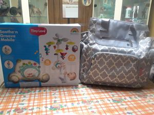 Fisher Price Diaper Bag and Tiny love sooth n Grove Mobile take both for 45 or 1 for 25 for Sale in Norwalk, CA