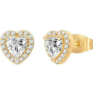 Heart Shaped YellowGold Plated Silver Earrings Diamond-Like Design, Gift for Women for Sale in Brea, CA