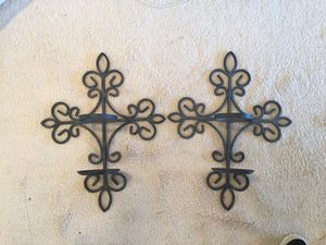 Iron Wall Hang and Candle Holder, Vases Included for Sale in Leesburg, VA