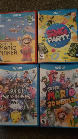 Wii u university super maria maker, smash bros, sing party, mario 3d world for Sale in Bellflower, CA