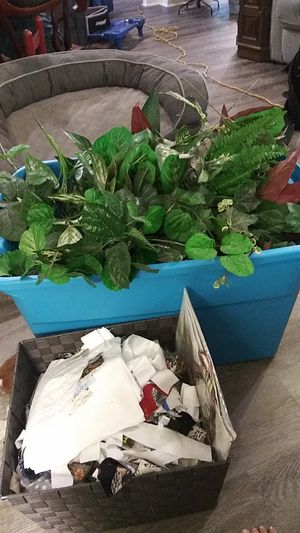 Fabric and big box of fake plants for Sale in Wimauma, FL
