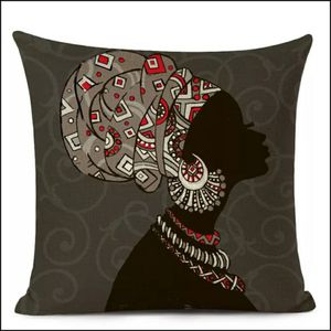 African Ethnic Woman Cushion Cover African Girl Decorative Pillow Case Linen Color Cloth Throw Pillow Cover for Sofa Home Decor16h×16w for Sale in San Jose, CA