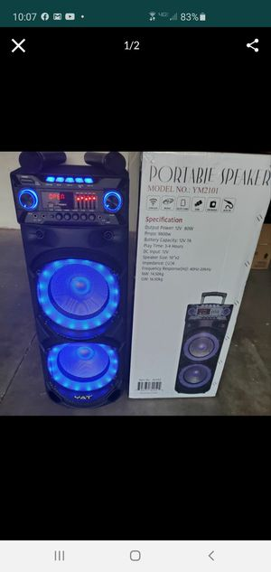 """New 10"""" woofers 9,800 watts Bluetooth, rechargeable, usb, sd, tf, fm, 2 wireless microphone, remote control for Sale in Riverside, CA"""