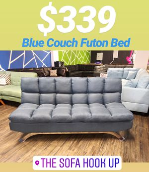 Yes We Finance 😁 Blue Pillow Top Couch Sofa Futon Bed Sofas for Sale in Lakewood, CA