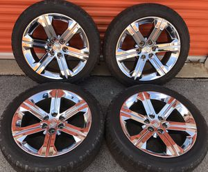 """Chrome 22"""" Factory OEM Cadillac Escalade Tahoe Yukon Wheels Rims Tires 22 inch for Sale in Chicago, IL"""
