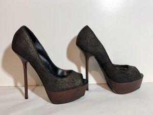 Bebe platform stiletto peep toe pumps (gold, black, brown wood) size 8 for Sale in Thornton, CO