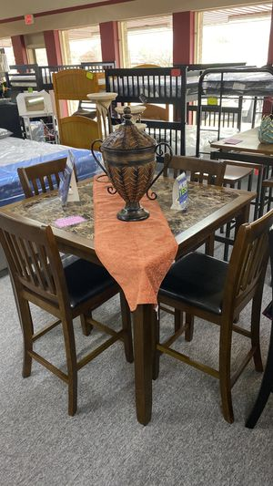 Walnut Counter Height Dining Table Set with Faux Marble Top 5 ZXW for Sale in Euless, TX