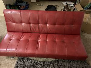 Red faux leather futon for Sale in Berwyn Heights, MD