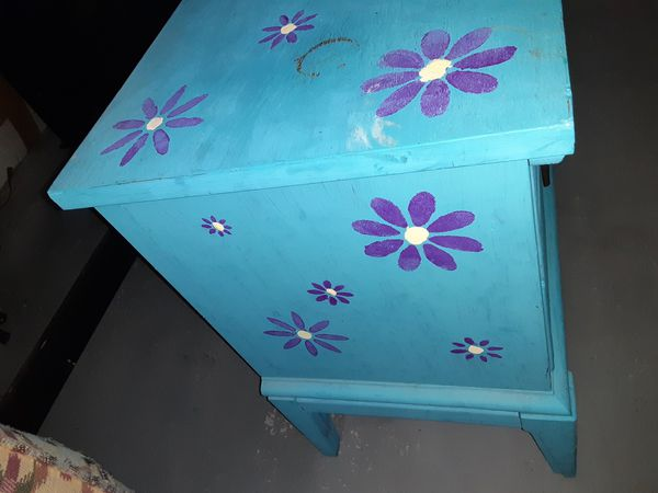Wooden night stand hand painted