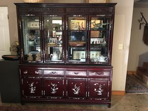 Red wood /with mother pearl inlay china hutch for Sale in Tucson, AZ