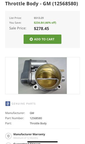 GM throttle body auto part for Sale in San Diego, CA