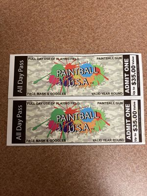 Paintball tickets for 2 for Sale in Richmond, VA