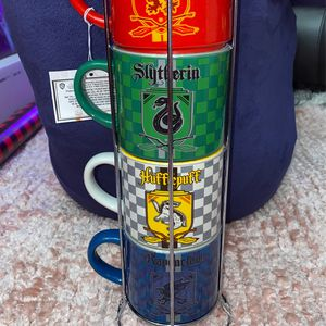 Harry Potter 4 Ceramic Mug set With Chrome Holder stand for Sale in Orange, CA