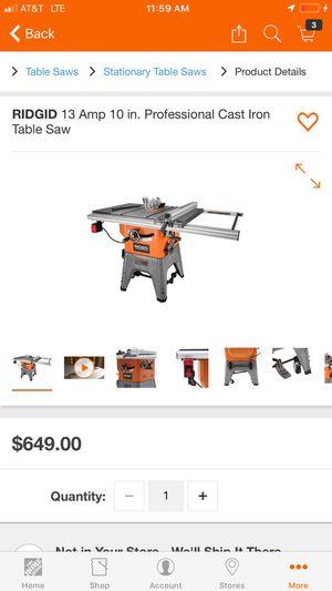 RIDGID 13 Amp 10 in. Professional Cast Iron Table Saw for Sale in Atlanta, GA