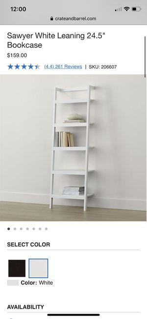 """Crate & Barrel Sawyer Leaning Bookshelf (2) in white - 24.5"""" for Sale in West Hollywood, CA"""
