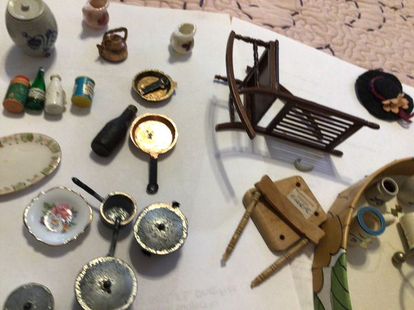 Doll house accessories. Pots, pans, dishes, fireplace