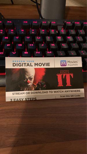 Stephen King IT - digital code for Sale in El Dorado Hills, CA