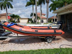 Motomar Floating 14 Foot Inflatable Boat with Trailer (zodiac style) for Sale in Fort Lauderdale, FL