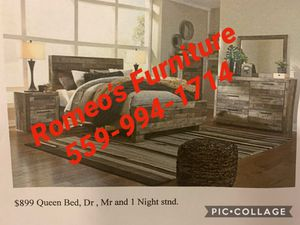 Queen Bed Frame❤️ 4Pc Romeos Furniture downtown Madera Mattress Sold separately for Sale in Madera, CA
