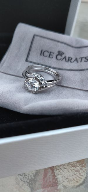 Sterling Silver 2pc Cubic Zirconia CZ Band Ring Set (Engagement/wedding) for Sale in Poway, CA