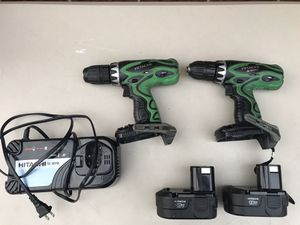 Hitachi 18v drills, batteries & charger for Sale in Woodford, VA