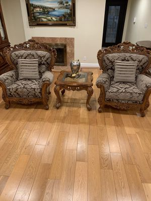 2 love chairs with a small glass wooden table! Good condition for Sale in Burbank, CA