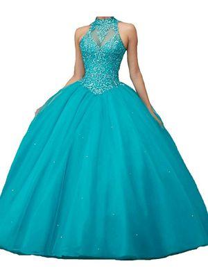 Quinceanera ballgown dress teal size 4 for Sale in Redmond, WA