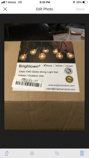 25Ft G40 Globe String Lights with Clear Bulbs for Sale in Mojave, CA