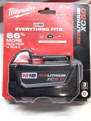 Milwaukee M18 18-Volt Lithium-Ion XC Extended Capacity Battery Pack 5.0Ah for Sale in Bakersfield, CA