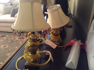 Pair small Victorian lamps - never used - beading on shade - paid $50 - selling $25 pair for Sale in Boca Raton, FL
