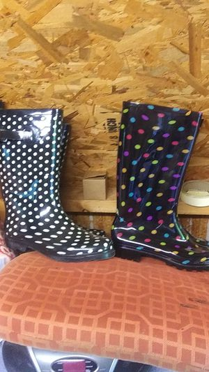 Size 9 White and Black Size 10 Spotted Colors Rain Boots for Sale in Kernersville, NC