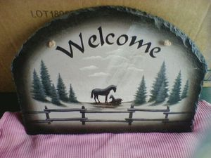 Stone Horse Welcome Sign for Sale in Linden, PA