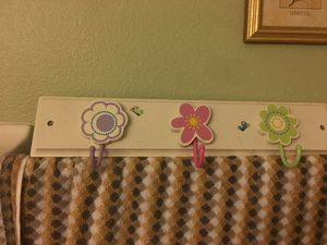 Kids flower and butterfly robe clothes hat bathroom bedroom 3 hook set for Sale in Land O Lakes, FL