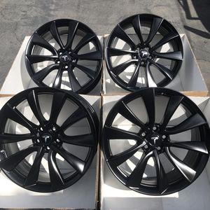 "20"" oem Tesla Model 3 factory wheels 20 inch semi gloss black rims Tesla 3 for Sale in Tustin, CA"