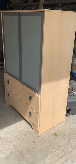 Select Pine Wood Bedroom dresser with opening glass doors for Sale in Tulsa, OK