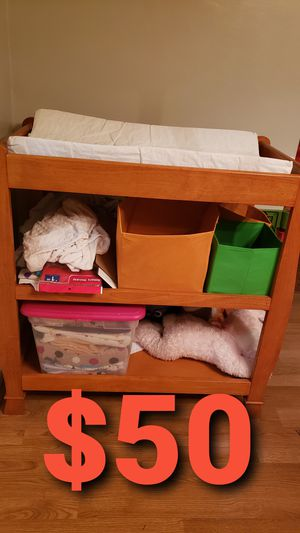 Changing table, glider,crib sheets,toddler table/chairs, closet for Sale in Portsmouth, VA