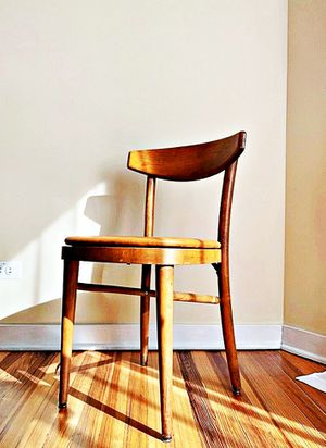 Wooden Shelby Williams Industries MCM chairs (4) with leather seat cushion. for Sale in Arlington, VA