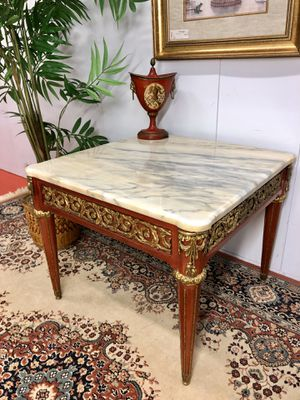 Luxurious Louis XV Style Mahogany Vintage Ornate Royal Brass Marble Top Side End Table (Made in Spain) for Sale in Boynton Beach, FL