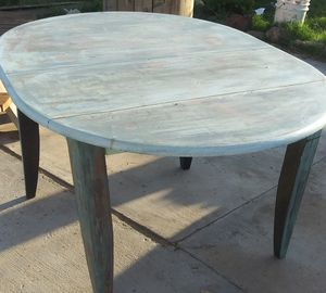 Reclaimed solid oak table freshly painted and sealed for Sale in Bakersfield, CA