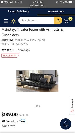 Theater Futon with Cupholders for Sale in Tempe, AZ