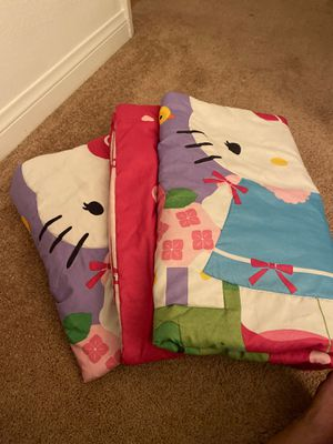 Two hello kitty reversible toddler bed covers for Sale in Long Beach, CA