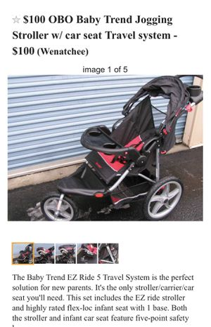 The only stroller you'll ever need!!! Comes with car seat and lock in base for Sale in Wenatchee, WA
