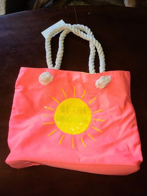 """Cat & Jack """"Be The Sunshine"""" Beach Bag w/ Rope Handle, Neon Pink/Coral for Sale in Jefferson, OH"""