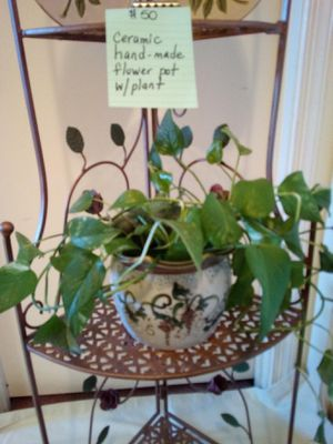 Ceramic hand made flower pot w/ plant for Sale in Largo, MD