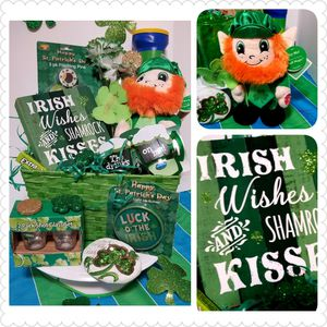 St. Patrick's Gift Basket eith Singing Leaprahan plush for Sale in Laredo, TX