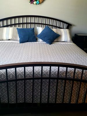 Basset dark cherry bedroom set California King mattress not included but box spring is. for Sale in Modesto, CA