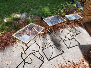 Set of 3 Antique Gold Lux Glass Top Nesting Tables for Sale in Orlando, FL