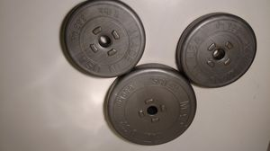 Set of three sand filled disc weights 31 lb for Sale in Columbus, OH