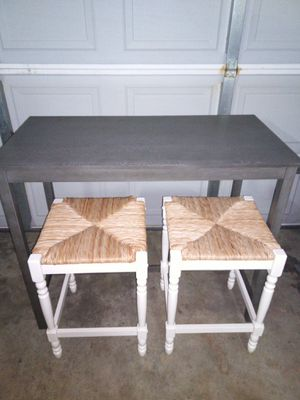 Brand new Grey Pug Table with Two 24in White Bar Stools for Sale in Jacksonville, AR