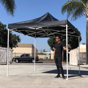 (NEW) $100 Black 10x10 Ft Outdoor Ez Pop Up Wedding Party Tent Patio Canopy Sunshade Shelter w/ Bag for Sale in El Monte, CA